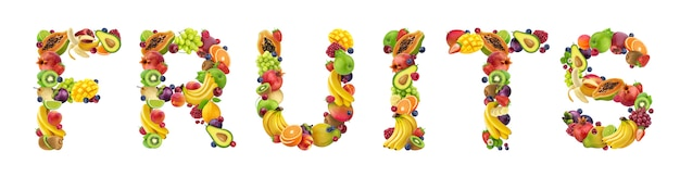 Word fruits gemaakt van verschillende soorten fruit en bessen
