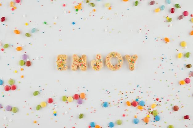 Word genieten gemaakt van koekje decoratief alfabet