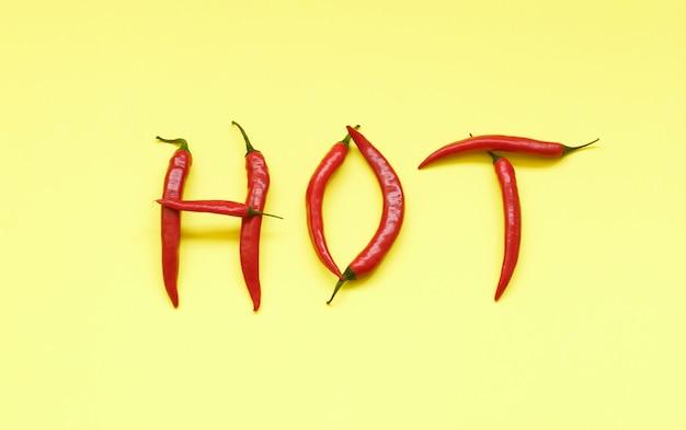 Word heet in hoofdletters gevuld met roodgloeiende chilipepers op geel