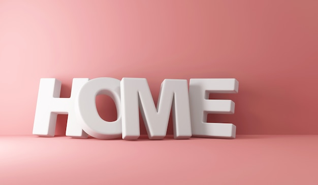 Word home bij de muur op pink studio-achtergrond