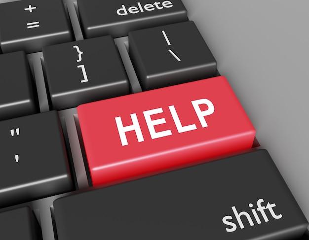 Word hulp op knoop van computertoetsenbord