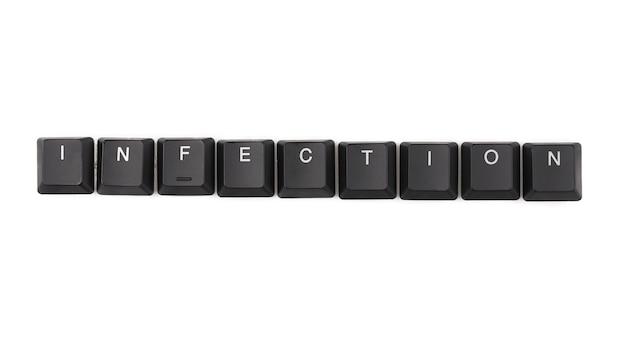 Word-infectie op toetsenbord. geïsoleerd op wit.