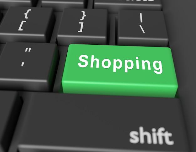 Word shopping op knop van computertoetsenbord