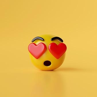 Word verliefd emoji pictogram op gele achtergrond 3d illustratie