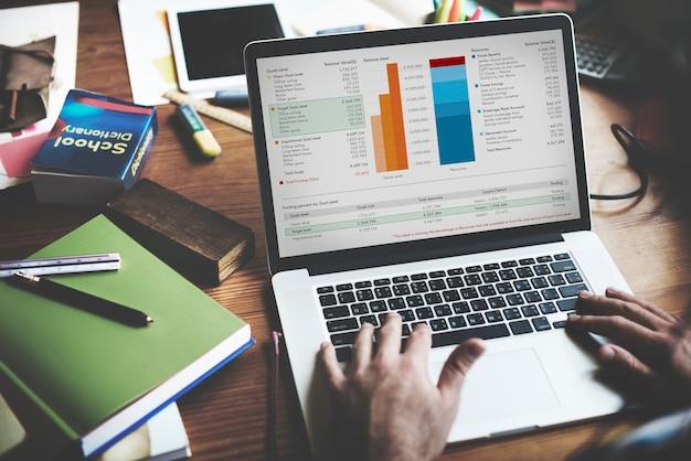 Working finance statistical data analyseer concept