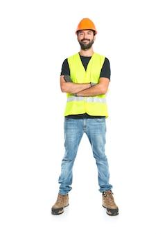 Workman over geïsoleerde witte achtergrond