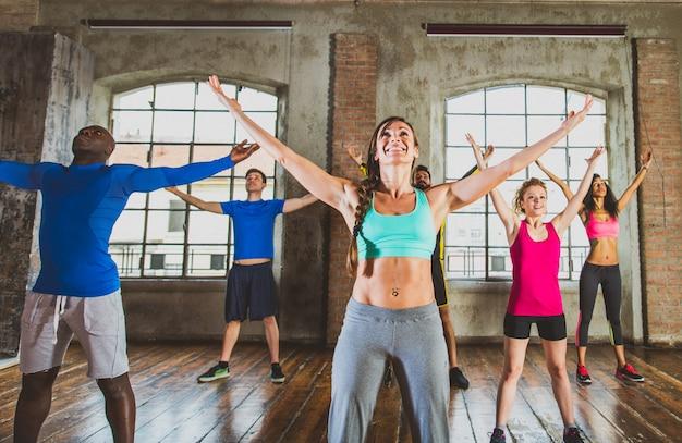 Workout in een fitnessruimte