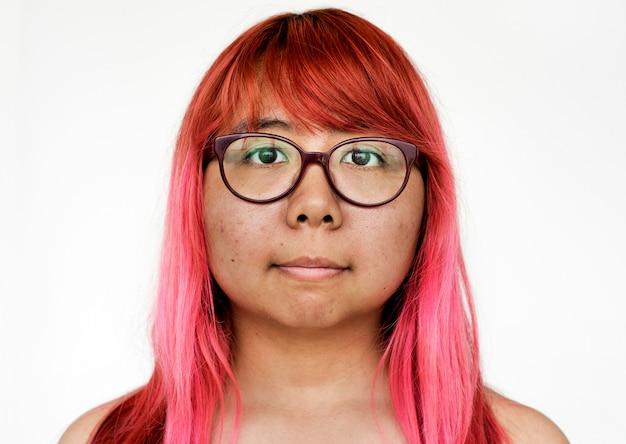 Worldface-thaise vrouw op een witte achtergrond