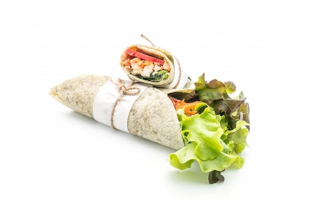 Wrap salade roll met kip en spinazie