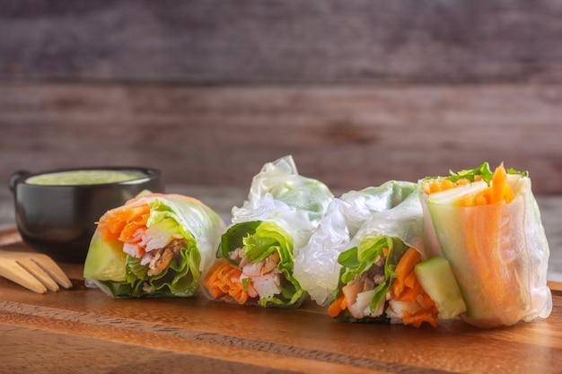Wraps met rijst met verse groenten