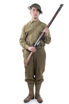 Ww1 britse legermilitair uit frankrijk 1918, op wit