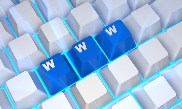 Www internetconcept. digitaal gegenereerde afbeelding. 3d-rendering