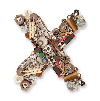X geïsoleerde mechanische brief in wit