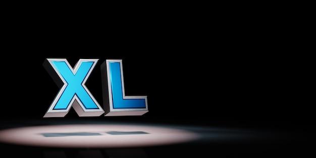 Xl-tekst in de schijnwerpers geïsoleerd
