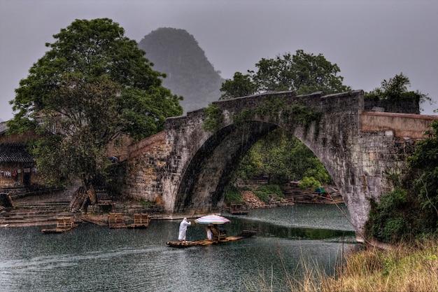 Yangshuo, guangxi, china bamboevlot met toeristen die langs de rivier yulong in de regen varen, dichtbij de oude drakenbrug, guilin, het gebied van karstheuvels, platteland, oriëntatiepunten.