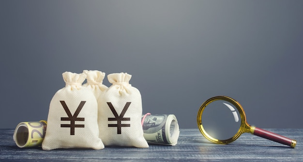 Yen yuan geldzakken en vergrootglas.