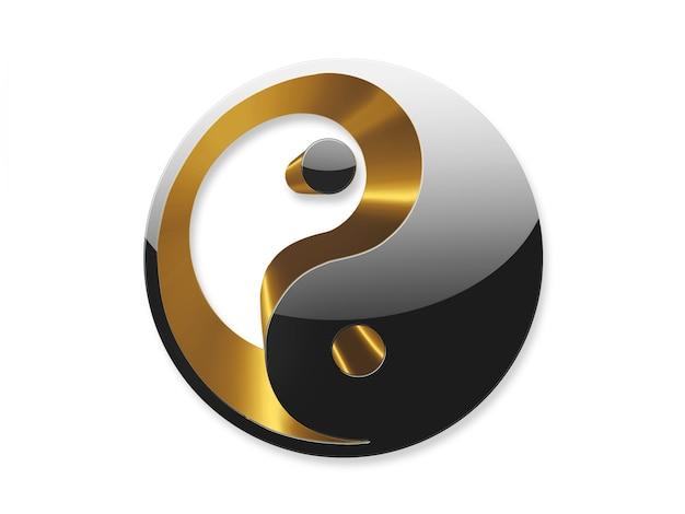 Yin yang symbool goud en zwart