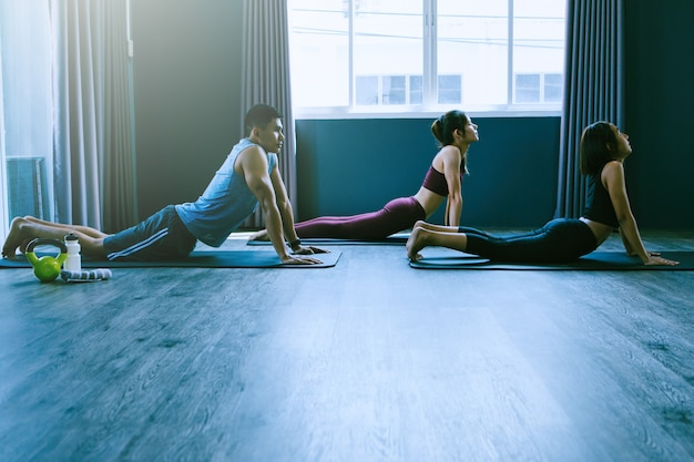 Yoga groepsconcept; jonge mensen die yoga beoefenen in de klas; kalmte voelen en ontspannen in yogales