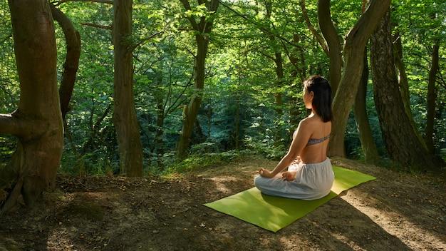 Yoga meditatie in park, gezonde vrouw in vrede, ziel en geest zen evenwicht concept.