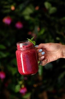 Yoghurt smoothie met frambozen gezond dieet