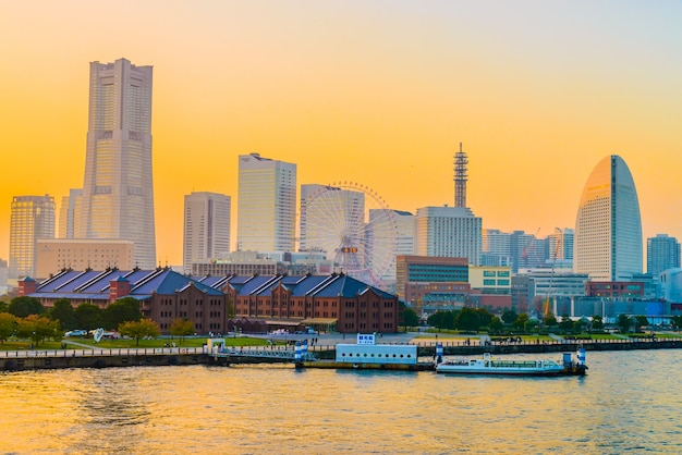 Yokohama skyline van de stad