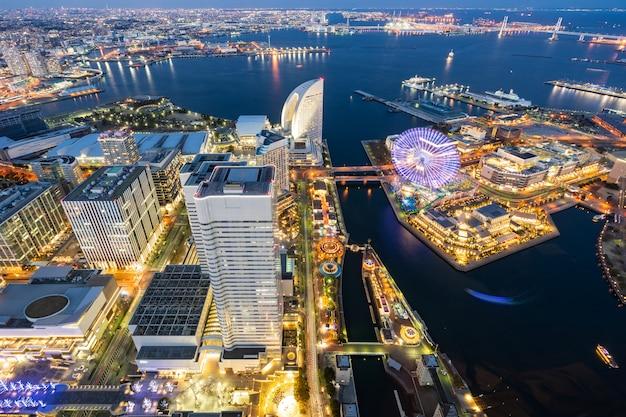 Yokohama stad luchtfoto