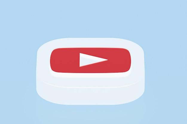 Youtube applicatie logo 3d-rendering op blauwe achtergrond
