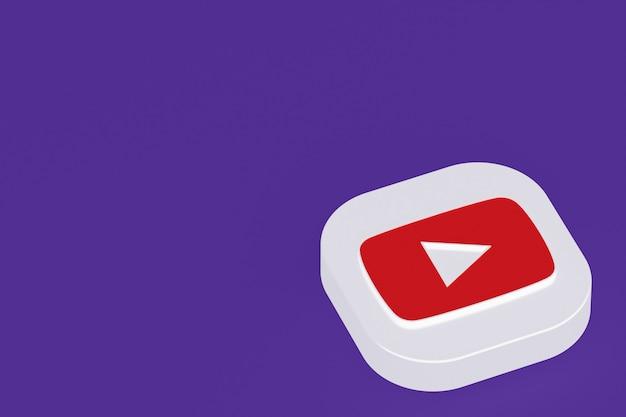 Youtube applicatie logo 3d-rendering op paarse achtergrond