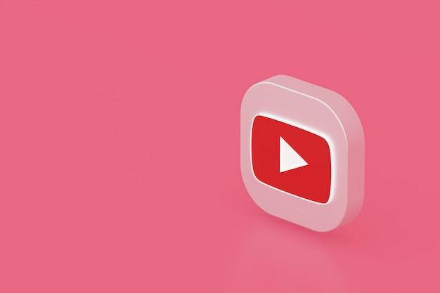 Youtube applicatie logo 3d-rendering op roze achtergrond
