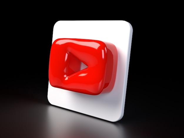 Youtube cirkel logo pictogram 3d premium foto 3d glanzende matte weergave