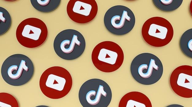 Youtube- en tiktok-pictogrammen 3d render achtergrond