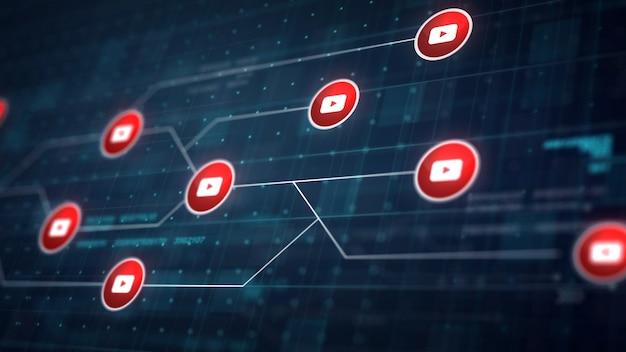 Youtube icon line connection van circuit board