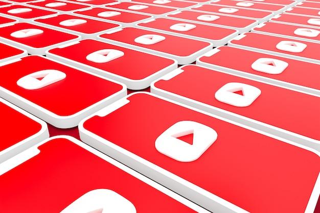 Youtube logo achtergrond op scherm smartphone of mobiele 3d render
