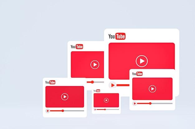 Youtube-logo en videospeler 3d-ontwerp of video-mediaspelerinterface