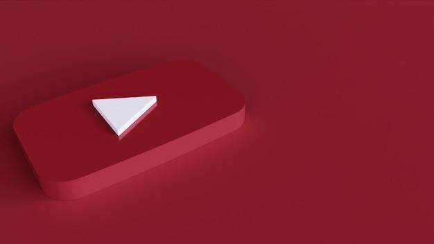 Youtube-logo minimaal eenvoudig ontwerpsjabloon. kopieer ruimte 3d