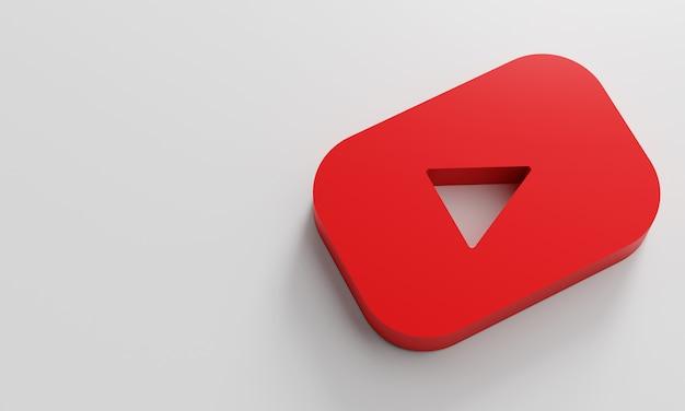 Youtube logo minimal simple design template. kopieer space 3d