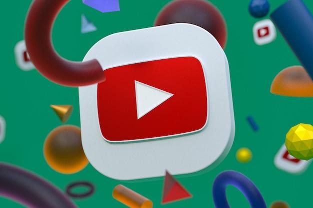 Youtube-logo op abstracte geometrie achtergrond