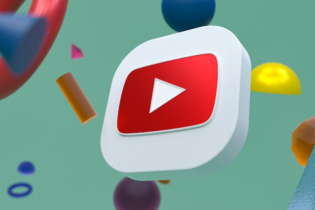 Youtube-logo op abstracte geometrie