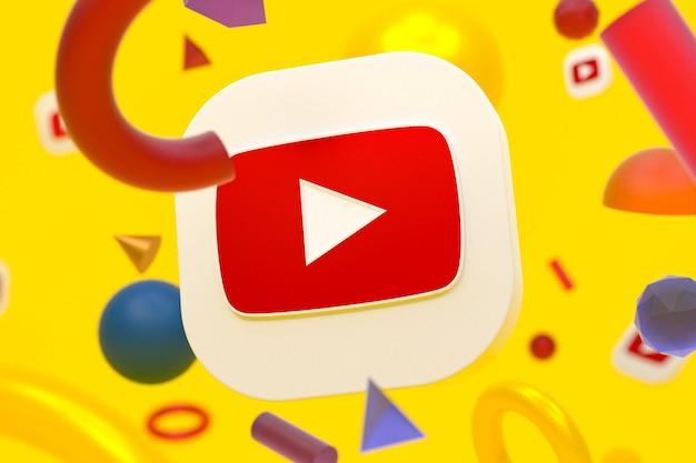 Youtube-logo op abstracte geometrie