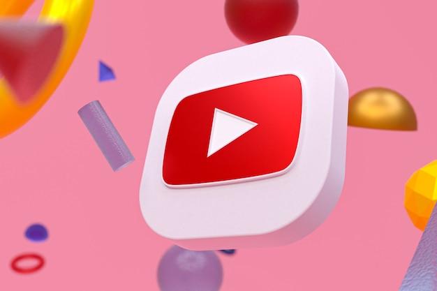 Youtube-logo op abstracte geometrische achtergrond