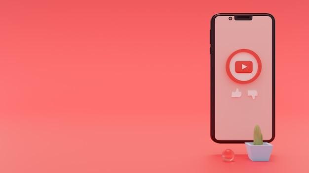Youtube-logo op smartphone 3d-rendering concept