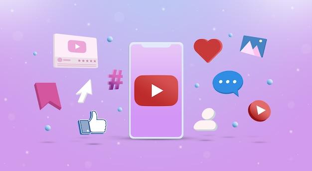 Youtube-logopictogram op de telefoon met sociale netwerkpictogrammen rond 3d