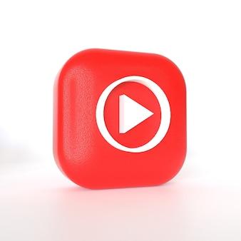 Youtube-muziektoepassingslogo met 3d-weergave Premium Foto