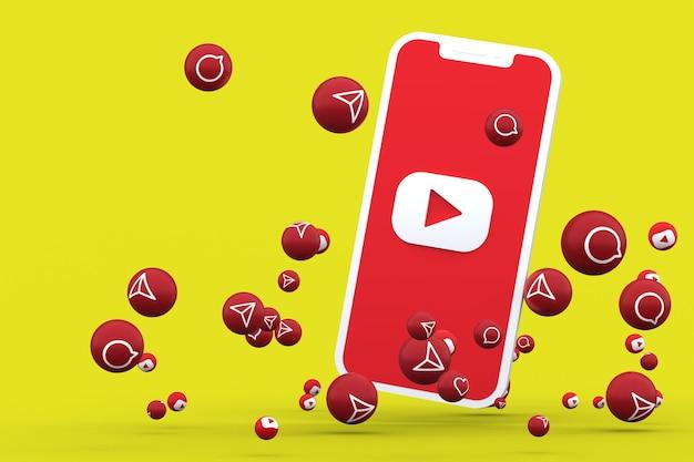 Youtube-pictogram op scherm smartphone en youtube-reacties bellen met geïsoleerd