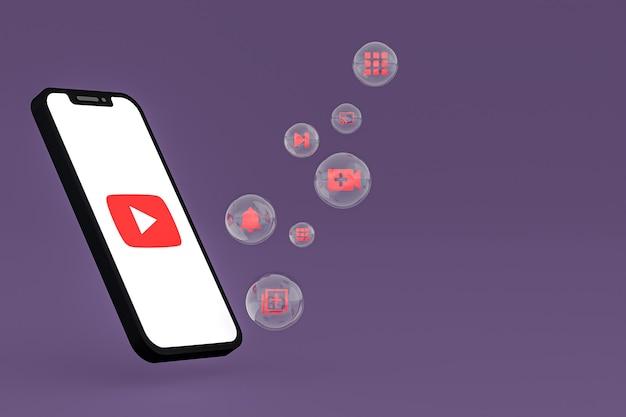 Youtube-pictogram op scherm smartphone of mobiele telefoon 3d render op paarse achtergrond