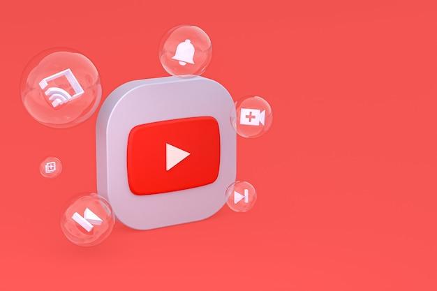 Youtube-pictogram op scherm smartphone of mobiele telefoon 3d render op rode achtergrond