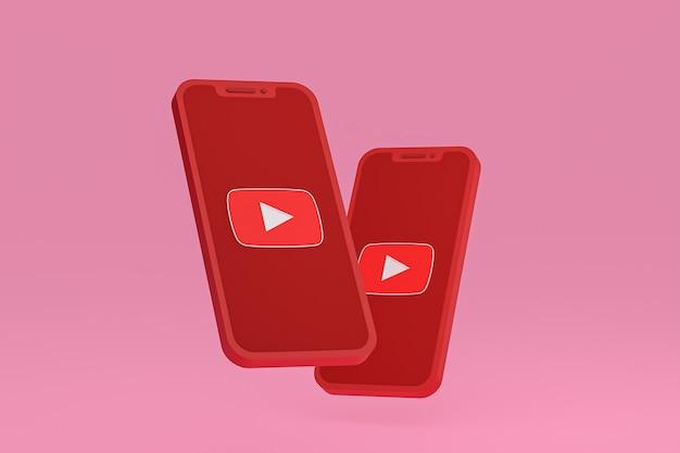Youtube-pictogram op scherm smartphone of mobiele telefoon 3d render