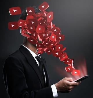 Youtube-pictogrammen verschijnen in het gezicht van een man
