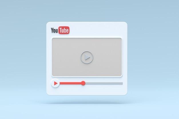 Youtube-videospeler 3d-ontwerp o