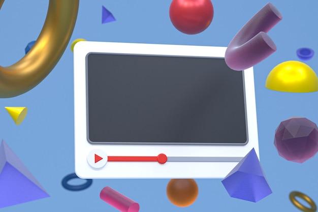 Youtube-videospeler 3d-ontwerp of video-mediaspelerinterface op abstracte geometrieachtergrond